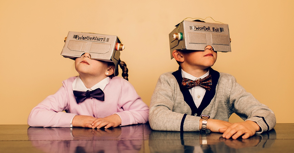 kids wearing cardboard VR masks, virtual reality, technology