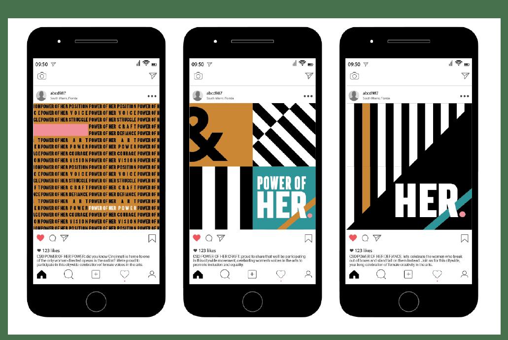 Social Media developed for POWER OF HER. Arts branding, Celebrating women in the arts. Non profit branding.