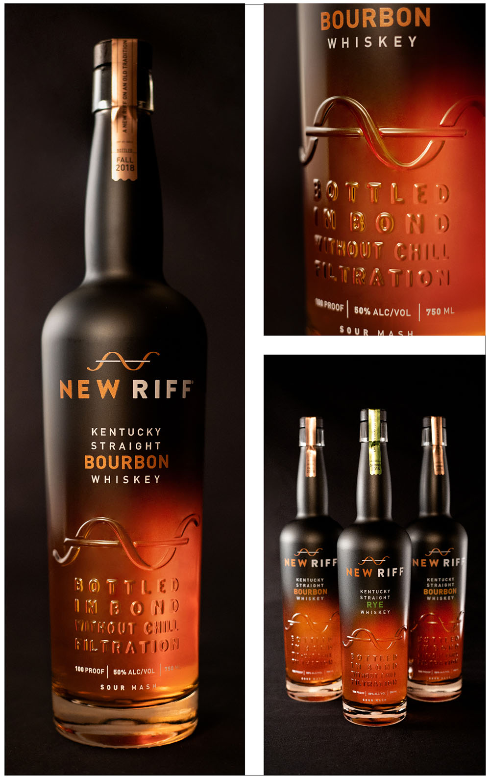 New Riff package Design, Award Winning, Spirits Branding,