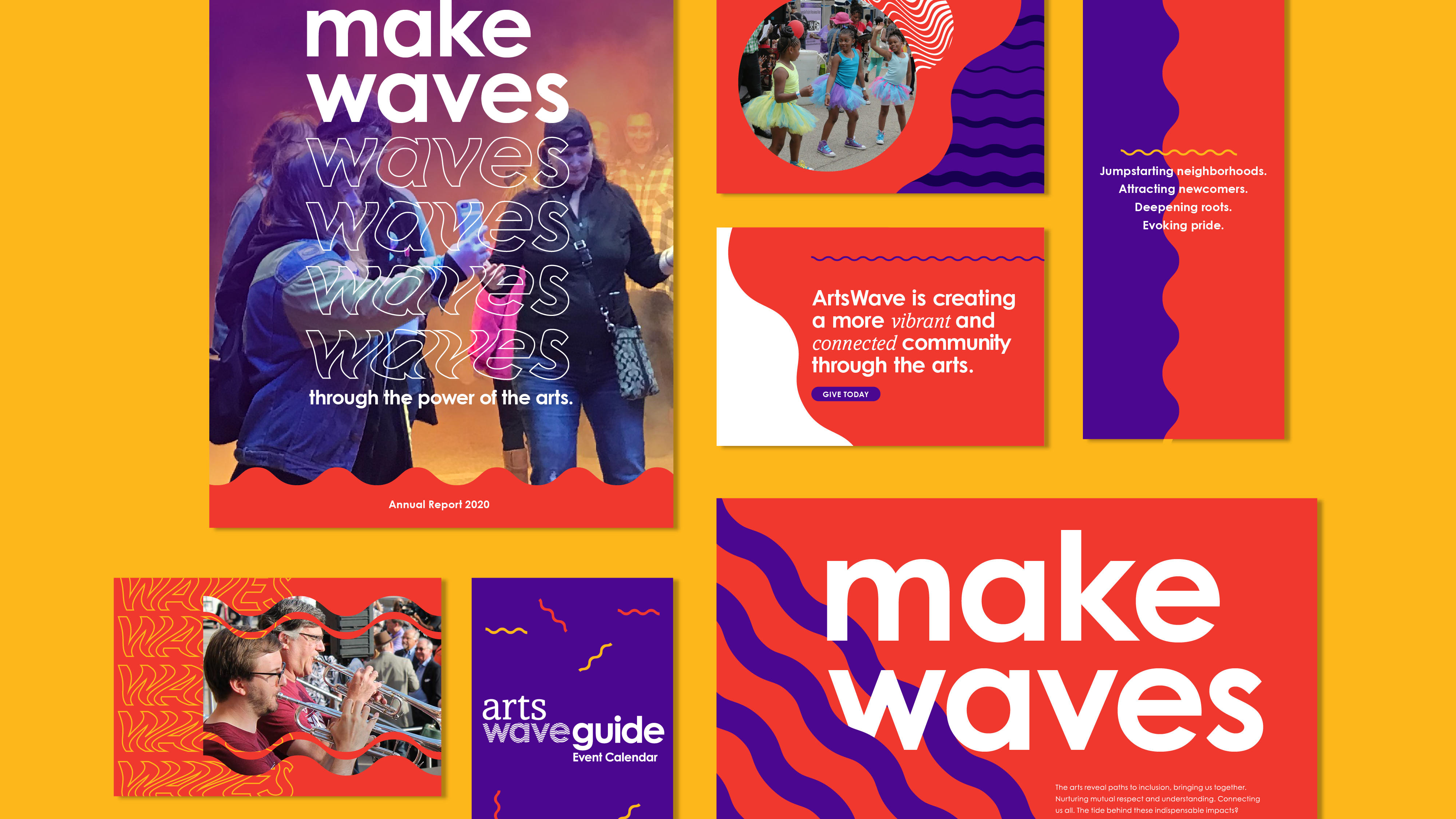 ArtsWave collateral, non profit branding, arts branding, brand identity